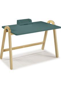 Mesa Escrivaninha Com Porta Objetos Ringo 1031 Natural/Azul Claro - Maxima
