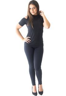 Blusa Abalot Ombro Recortado Preta