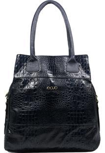 Bolsa Em Couro Recuo Fashion Bag Totem Croco Azul Marinho