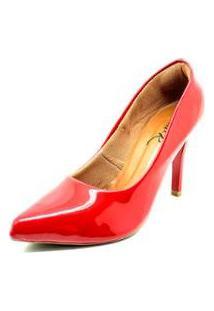 Sapatos Dani K Scarpin Salto Fino Verniz Femininos - Feminino-Vermelho