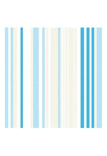 Papel De Parede Quartinhos Adesivo Listrado Azul E Marfim 2,70X0,57M