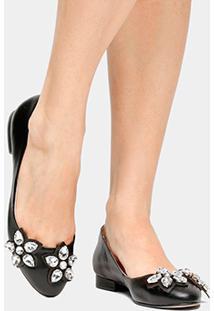 Sapatilha Couro Shoestock Pedrarias Flor Feminina - Feminino-Preto
