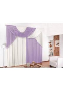 Cortina Luana Decorativa Para Sala Ou Quarto Com Bando Em Tecido Malha Lilás Com Branco 2,00M X 1,70