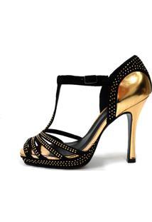 Sandália Bianti Couro Com Specchio Gold