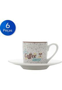 Conjunto De Xícaras Para Café Com Pires 6 Peças 90 Ml Coffee Time-Bon Gourmet - Branco