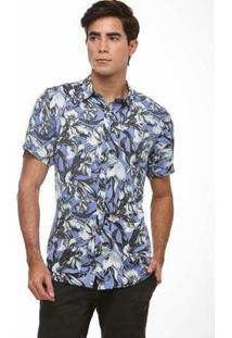 Camisa Zaiko Slim Viscose Estampada Manga Curta Masculina - Masculino-Azul