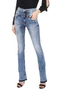 Calça Jeans Lança Perfume Bootcut Double Belts Azul