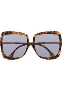 Fendi Eyewear Óculos De Sol Oversized Com Efeito Tartaruga - Marrom