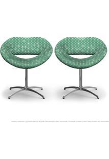 Kit 2 Cadeiras Beijo Colmeia Verde Poltrona Decorativa Com Base Giratória