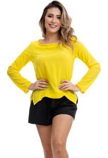 Blusa Clara Arruda Manga Longa Feminina - Feminino-Amarelo