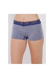 Calcinha Boxer Com Renda Feminina Cinza/Azul Marinho