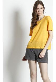 Camiseta Em Linho - Amarelacanal