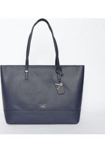 Bolsa Com Tag & Bolso Externo- Azul Marinho- 27,5X42Guess