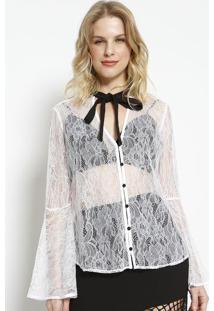 Camisa Floral Com Top- Branca & Preta- Charrycharry