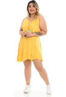 Roupas Plus Size Domenica Solazzo Vestidos Curtos Amarelo - Kanui