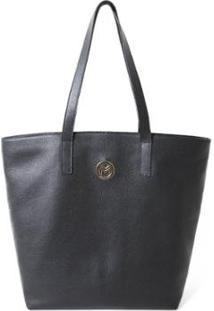 Bolsa Shopper Couro Mariart 5230 Feminina - Feminino-Preto