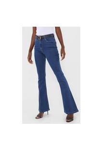 Calça Jeans Hering Flare Pespontos Azul