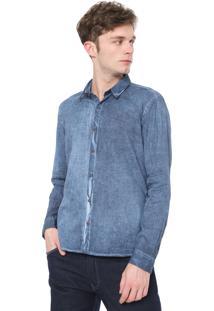 Camisa Calvin Klein Jeans Slim Fit Básica Azul