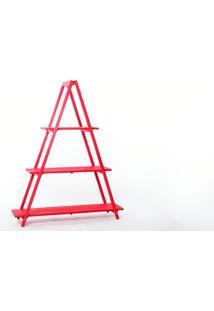 Estante Escada De Madeira Maciça Dobrável 3 Prateleiras Stain Vermelho Mão & Formão - 120X35X150 Cm