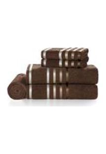 Jogo De Banho Karsten Fio Penteado 5 Pecas Lumina Chocolate/ Marrom