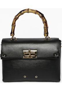 Bolsa Texturizada Com Ilhoses- Preta & Dourada- 18X2Santa Lolla