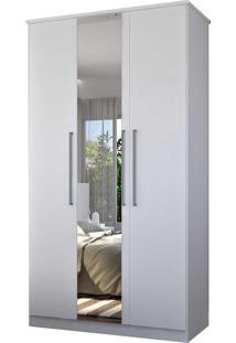 Guarda-Roupa Casal 3 Portas C/ 1 Espelho Branco M Foscarini