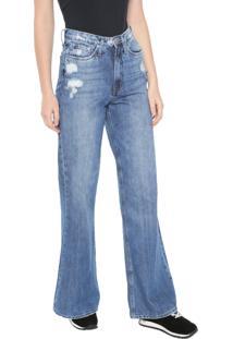 Calça Jeans Calvin Klein Jeans Pantalona Destroyed Azul