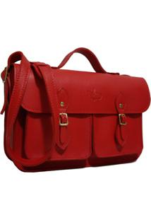 Bolsa Line Store Leather Satchel Pockets Média Couro Vermelho.