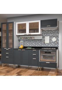 Cozinha Completa 8 Peças Americana Multimóveis 5674Mf Branco/Grafite