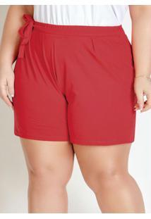 Short Vermelho Com Pregas E Amarração Plus Size