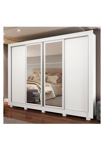 Guarda-Roupa Casal Madesa Alabama 4 Portas De Correr Com Espelhos Com Pés Branco