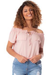 Blusa Feminina Lu Bella Ombro A Ombro Rosa Antigo - P