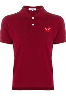 Comme Des Garçons Play Camisa Polo Com Patch De Logo - Vermelho