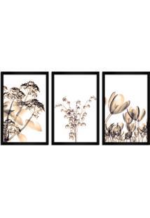 Quadro Oppen House 60X120Cm Flores Abstrato Transparentes Moldura Preta Estilo Raio-X Decorativo Interiores Mod:Oh006