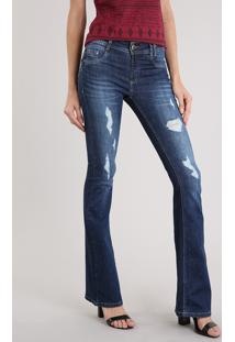 bce78c792 ... Calça Jeans Feminina Flare Sawary Destroyed Azul Escuro