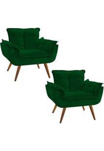 Kit 02 Poltronas Decorativa Opala Deluxe Suede Verde - Unico - Dafiti