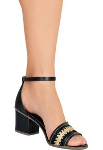 Sandália Preta Salto Quadrado
