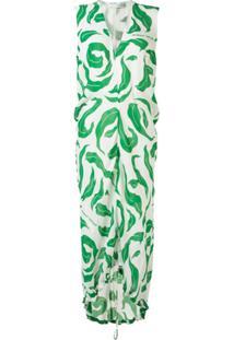 Off-White Vestido Sem Manga Com Estampa De Folhas - Verde