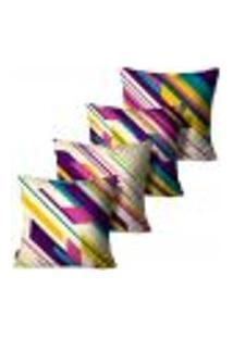 Kit Com 4 Capas Para Almofadas Premium Cetim Mdecore Abstrata Colorida 45X45Cm