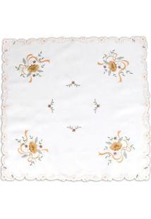Toalha De Mesa Floral Quadrada- Branca & Amarela- 85Sultan