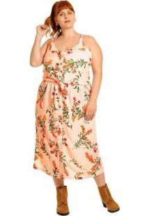 Camisa Plus Size Cropped Plus Size Alça Com Botões Feminina - Feminino-Rosa Claro