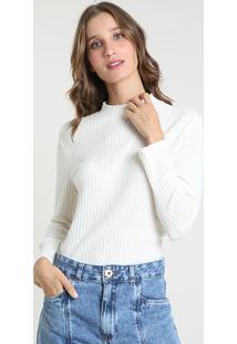 Suéter Feminino Canelado Em Tricô Decote Redondo Off White
