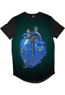 Camiseta Longline Bsc Coração De Máquina Motor Azul Sublimada Azul