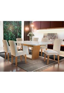 Conjunto De Mesa De Jantar Sofia Com 6 Cadeiras Estofadas Grécia Veludo Off White E Creme