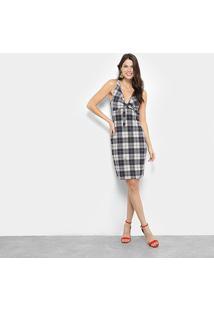 Vestido Lança Perfume Xadrez Regata Decote Amarração - Feminino-Xadrez