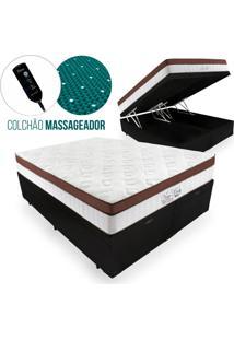 Cama Box Com Baú Casal + Colchão Massageador C/ Infravermelho - Anjos - New King - 138X188X72Cm Preto