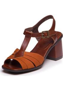 Sandália Em Couro Ava Gardner - Ferrugem / Jatobá 7417 - Tricae