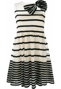 Redvalentino Vestido Mini Listrado Com Aplicação De Laço - Branco