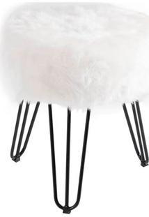 Puff Cloud Base Preta Pele Sintetica Branca 46 Cm - 60093 - Sun House
