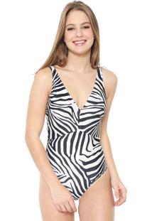 Maiô Cia.Maritima Zebra Off-White/Preta